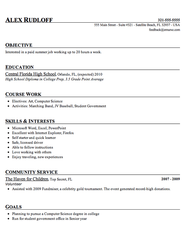 resume examples for high school students entry level resume - Resume For Highschool Students